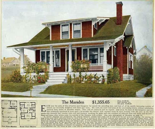 Aladdin Marsden House Kit. Thousands of Arts & Crafts and Craftsman homes were built from kits.  Click to enlarge image.