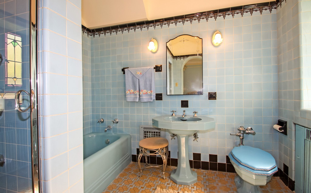Rennovated Arts U0026 Crafts Bathroom Features Blue Wall Tile.