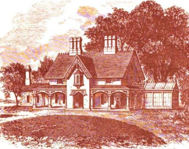 rendering of the gothic villa as it appeared in downings country houses in 1850 - Steamboat Gothic House Plans