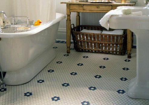 Arts U0026 Crafts Baths: Hexagonal Mosic Tile Floor.