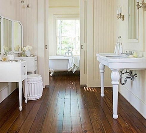 Wide Plant Wood Floor In A Victorian Bathroom Repeoduction.