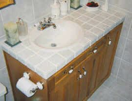 Hickory wood bathroom vanity with ceramic tile countertop