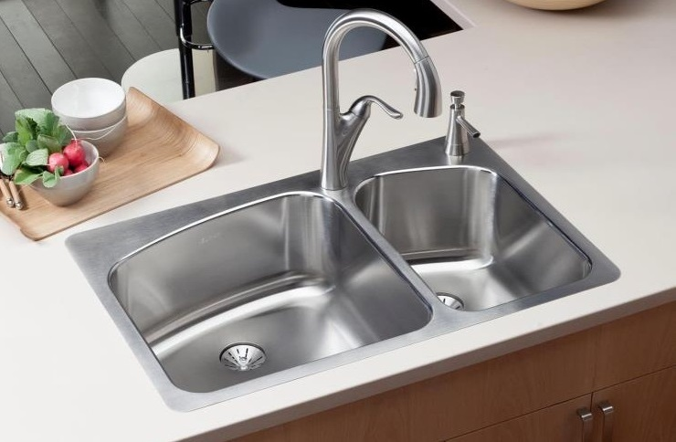 the classic top mount self rimming asymmetrical stainless steel sink from elkay - Budget Kitchen Sinks