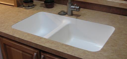 Karran Acrylic Undermount Sink Installed In Formica Laminate.