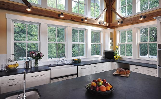 Large Kitchen Windows Produce A Light, Airy Kitchen But Reduce Space  Available For Wall Or Upper Cabinets.